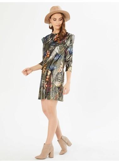 Xint Kolları Fırfırlı Çiçekli Mini Elbise Haki